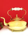 1930年代:優雅な白い陶器の持ち手♪素晴らしく美しい無垢の真鍮のとても大きな足付ケトル