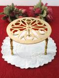 1920年代:幾何学模様なきれいな透かし細工の優雅な無垢の真鍮の鍋敷き