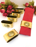 1930年代:立体的なシェル模様♪真鍮細工が美し珍しいナプキンリング「6個セット:お箱付」