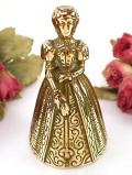1920年代:英国の伝統的な優雅なヴィクトリアンレディの無垢の真鍮のベル