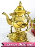 1910年代:優雅な真鍮細工が美しい♪オイルランプ付スタンド式のティーケトル