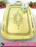 1890年代:ヴィクトリアン♪無垢の真鍮でつくられたとても豪華な持ち手付の大きなトレイ