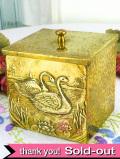 1910年代:立体的な優雅な白鳥♪とても珍しい真鍮製のティーキャディ