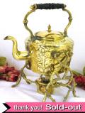 1890年代:すばらしいヴィクトリアンの真鍮細工♪オイルランプが付いたスタンド式のケトル