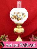 1920年代:英国の野の花たち♪真鍮細工が美しい英国アンティークの大きくて明るいオイルランプ