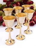 1930年代:優雅な植物模様の真鍮細工♪無垢の真鍮の優雅なワインカップ「6点セット」