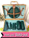 <デッドストック:未使用品>レア♪2つの持ち手が付いた四角いフォルムの大きなピクニックバスケット