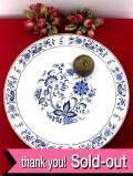 <英国ミッドセンチュリー>上品なお花たち♪直径40.5cmとてもとても大きなブルー&ホワイトのホーローのトレイ