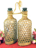 1930年代:とてもカントリーな藤のカバーの付いた珍しいボトル「2本セット」