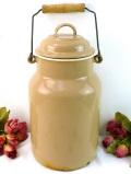 1910年代:レア♪正統派♪ベージュ色のアンティークホーローの素晴らしい大きなミルク缶