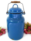 1910年代:レア珍しい紺色♪アンティークホーローの大きなミルク缶