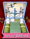 <BREXTON>1950年代:完全フルセット♪大きな四角いお箱に入った英国流ピクニックセット「ぎっしり20点セット」