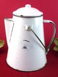 1930年代:カントリーなアンティークホーロー♪伝統的な白色のとても大きなケトル