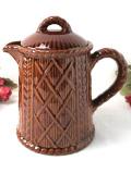 1920年代:素朴な味わいがカントリー♪きれいな茶色の英国ストーンウェアのとても大きなコーヒーポット