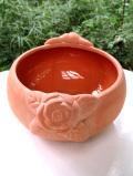 <英国ビンテージ>立体的なバラのお花♪素焼きのテラコッタが珍しいカントリーなボウル