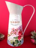 <フランス製>華やかなお花たち♪高さ33cm容量2000ccとても大きなブリキのウォータージャグ