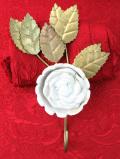 <英国ビンテージ>立体的な陶器細工の白バラのお花♪とても珍しい大きなフック