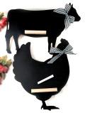 <デッドストック:未使用品>愛らしいおリボン♪動物たちのシルエットがカントリーな楽しいブラックボード「白いチョーク付」