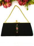 <英国ビンテージ>薔薇と金のお星様のプチポワン♪黒地と金色の上品な2WAYハンドバッグ