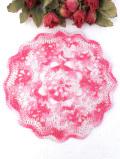 <英国ハンドメイド>明るいピンクと白♪とても大きなお花のようなレースドイリー