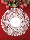 <英国ハンドメイド>お花たちのヘアピンレースが美しいアンティークリネンの白いドイリー