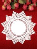 <英国ハンドメイド>一輪のお花のような英国ビンテージのレースドイリー