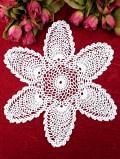 <英国ハンドメイド>大きなお花のような英国ビンテージの上品なレースドイリー