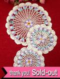 <英国ハンドメイド>明るいお花たち♪英国ビンテージのレースドイリー「3枚セット」