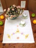 <英国ハンドメイド>英国カントリーサイドの野の花たち♪全長64cmアンティークリネンの長方形のとても大きなセンタードイリー