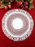 <英国ハンドメイド>繊細なヘアピンレースが優雅♪大輪のお花のようなロマンチックなレースドイリー