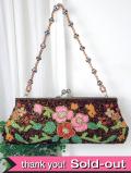 <英国パーティバッグ>輝くビーズのお花たち♪華やかなビンテージの2WAYパーティバッグ