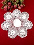 <英国ハンドメイド>繊細なレースの花びらが優雅♪大輪のお花のような美しい大きなレースドイリー