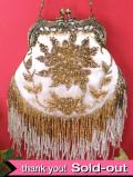 <英国パーティバッグ>ゴールドに輝くビーズのお花たち♪英国のすばらしいパーティバッグ:23100円→記念価格で