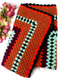 <英国ビンテージ>優しいお色たち♪とても大きな手編みの大きなグラニーブランケット