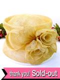 <英国ビンテージHAT:デッドストック(未使用品)>優雅な淡いベージュ色のお花♪ヴィクトリアン貴婦人のようなお帽子