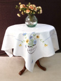 <英国ハンドメイド>105cm×100cm♪優しいコットンクロス♪フラワーベースのお花たちのとても大きなテーブルクロス
