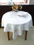 <英国ハンドメイド>超特大サイズ一辺125cm♪たくさんの明るいお花たちのとてもとても大きなテーブルクロス