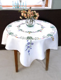 <英国ハンドメイド>特大サイズ一辺125cm♪優しいお花たちが美しいとてもとても大きなテーブルクロス
