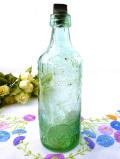 1930年代:淡い緑ガラス♪英国アンティークのとても大きなキャップ付ボトル