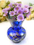 1930年代:優雅な青ガラス♪銀彩もアートフルなスモールフラワーベース