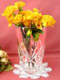1940年代:彫りの深い立体的なガラス細工♪クリスタルガラスのとても大きな光のフラワーベース