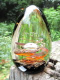 <James Scott>大玉♪まるで宇宙空間♪気泡がアートフルなとても大きなガラスのペーパーウエイト★大玉