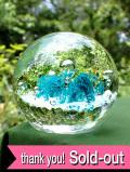<英国ハンドメイド>水色のお花♪大きな気泡が美しい透明ガラスの大きなペーパーウェイト
