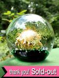 ★★<英国ハンドメイド>気泡の舞踏♪深い緑と金粉のアートフルなアンティークガラスの大きなペーパーウェイト:通常価格3980円→