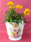 <英国ビンテージ>英国の優雅なお花たち♪左右に持ち手が付いたロマンチックな大きめの鉢