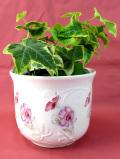 <英国ビンテージ>ピンクと白の野の花たち♪ロマンチックで明るい鉢カバー