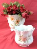 <英国ビンテージ>バラとタイガーリリー♪英国のロマンチックな鉢カバー「2個セット」