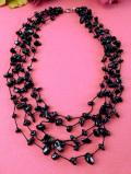 1940年代:貴重なブラックアゲート(黒メノウ)♪珍しくて豪華なアートフルな5連ネックレス:通常価格10970円→