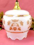 <英国ビンテージ>すりガラスにピンクのお花♪金彩も美しい優雅なランプシェード