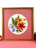 ★<英国ボタニカルアート>ブルーデイジーとルドベキアのお花たち♪明るいタッチの美しい額:通常価格